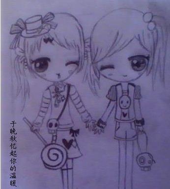 简笔画两个小女孩看风景